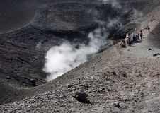 Tourists at Mt. Etna Royalty Free Stock Photography