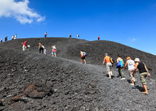 Tourists at Mt. Etna, Italy - 24 August, 2010 Royalty Free Stock Image