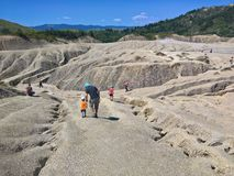 Tourists at the Mud Volcanoes stock photos