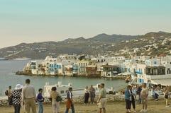 Tourists in Myconos Royalty Free Stock Photo