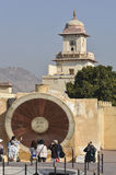 Tourists at the Nadivalya Yantra at Jantar Mantar Observatory in Jaipur, India Royalty Free Stock Photography