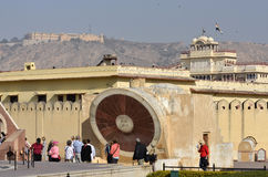 Tourists at the Nadivalya Yantra at Jantar Mantar Observatory in Jaipur, India Stock Images