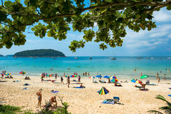 Tourists on the Nai Harn beach Stock Images