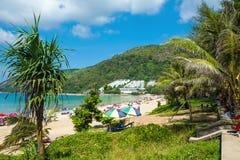Tourists on Nai Harn beach Royalty Free Stock Photo