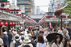 Tourists on Nakamise shopping street in Asakusa, Tokyo Stock Image