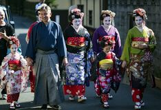 Tourists in national Japanese clothes Stock Photography