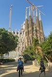 Tourists at Nativity facade of La Sagrada Familia - the impressi Royalty Free Stock Photography