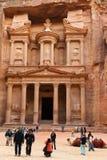 Tourists are near Al Khazneh Stock Images