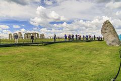 Tourists near ancient Stonehenge, UK stock images