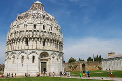 Tourists near the Baptistery of St. John, Pisa, Italy Royalty Free Stock Image