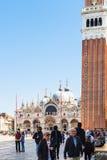 Tourists near campanile on Piazza San Marco Royalty Free Stock Photo