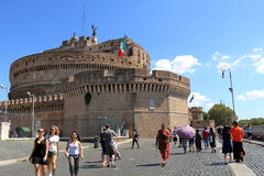 Tourists near the Castle of the Holy Angel in Rome Stock Image