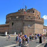 Tourists near the Castle of the Holy Angel in Rome Stock Photography