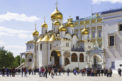 Tourists near the Cathedral of the Annunciation of the Moscow Kremlin Stock Photos