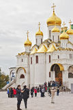Tourists near the Cathedral of the Annunciation in Mosev, Russia Stock Photos
