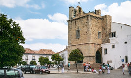 Tourists near Cathedral of Faro in POrtugal Royalty Free Stock Image