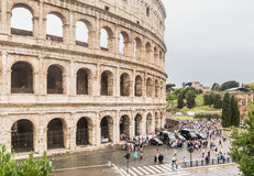 Tourists near Colosseum monument in Rome city Stock Image