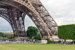 Tourists near Eiffel Tower and Champ de Mars in Paris, France Royalty Free Stock Photography
