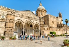 Tourists near of the famous portico by Domenico and Antonello Gagini of Palermo Cathedral. Palermo, Sicily, Italy - October 6, 2017: Tourists near of the famous Stock Photo