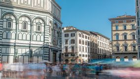 Tourists near Florence Baptistery San Giovanni timelapse on Piazza San Giovanni. stock video footage