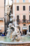 Tourists near Fountain of Neptune in Rome Royalty Free Stock Photography