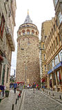Tourists near of Galata Tower. Stock Photography