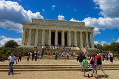 Tourists near the Lincoln Memorial in Washington DC USA Stock Images