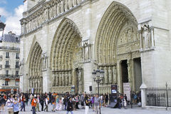 Tourists near Notre Dame de Paris. France Stock Images