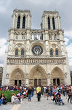 Tourists near Notre Dame de Paris. France Stock Photo