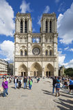 Tourists near Notre Dame de Paris Royalty Free Stock Photo