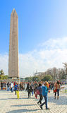 Tourists near Obelisk in Istanbul, Turkey Royalty Free Stock Photos