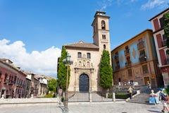 Tourists near old church in Granada. Royalty Free Stock Photos
