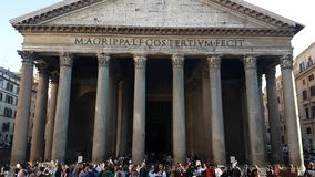 Tourists near Pantheon church on Piazza della Rotonda in Rome city. stock video