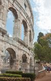 Tourists near the Roman amphitheater in Pula, Croatia Royalty Free Stock Photography