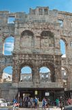 Tourists near the Roman amphitheater in Pula, Croatia Stock Images