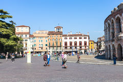 Tourists near roman Arena on Piazza Bra in Verona Stock Image