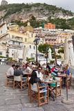 Tourists near the small harbor of Positano Royalty Free Stock Image