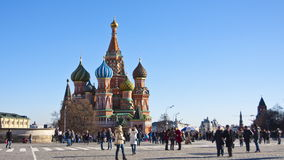 Tourists near St. Basil's Cathedral on Red Square stock video footage
