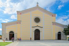 Tourists are near St. Stephen`s Cathedral, Shkoder, Albania. SHKODER, ALBANIA - SEPTEMBER 6, 2017: Unknown tourists are near St. Stephen`s Cathedral, Shkoder stock photo