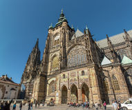 Tourists near St. Vitus Cathedral in Prague Castle(Hradchany), Prague, Czech Republic Royalty Free Stock Photos