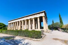 Tourists near temple of Hephaestus, Athens, Greece Royalty Free Stock Image