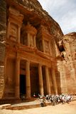 Tourists near Treasury. Petra, Jordan Royalty Free Stock Image