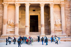 Tourists near of Treasury Monument in Petra Royalty Free Stock Images