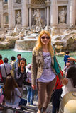 Tourists near the Trevi Fountain in Rome, Italy Stock Photos