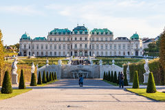 Tourists near Upper cascade and Belvedere Palace Stock Photos