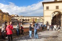 Tourists near Vasari corridor and Ponte Vecchio Royalty Free Stock Image