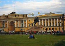 Tourists next to the Bronze Horseman and the Senate. Saint Petersburg, Russia - June 2016 Stock Photo
