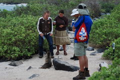 Tourists next to a seal in the Galapagos Stock Image