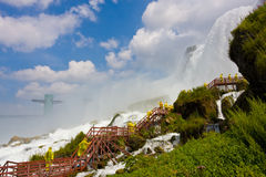 Tourists at Niagara falls. Below American fall royalty free stock photography