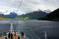 Tourists on Norwegian fjord cruise Stock Image